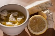 Breack up Feta, let it sit in lemon juice and olive oil